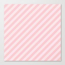 Light Millennial Pink Pastel Candy Cane Stripes Canvas Print