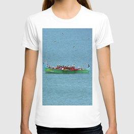 Colorful Wooden Fishing Boat at Sea, India T-shirt