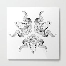 Floral Skull Illustration Metal Print