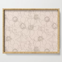 Australian Waxflower Line Floral in Natural Serving Tray