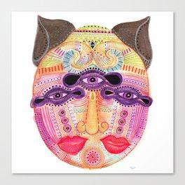 watch my lips mask Canvas Print