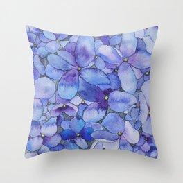 Watercolour Hydrangea Throw Pillow