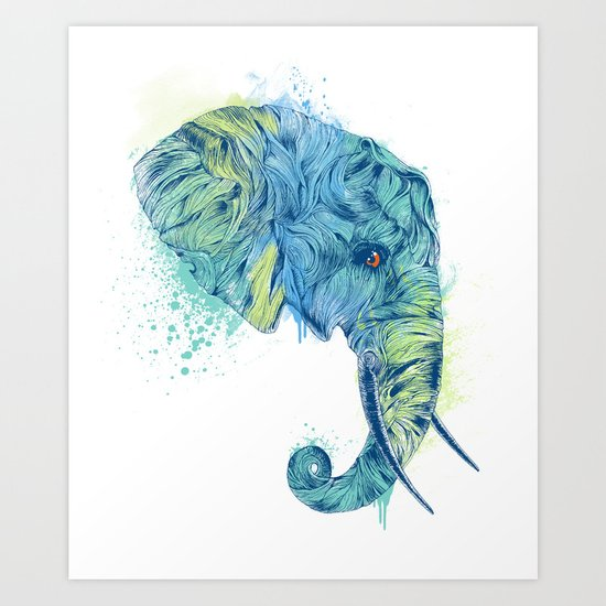 Elephant Head II Art Print