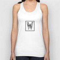 waldo Tank Tops featuring Zentangle W Monogram Alphabet Illustration by Vermont Greetings