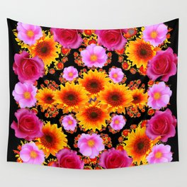 Red Pink Roses Golden Sunflowers Black Art Wall Tapestry