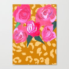 Floral and Tiger Print Canvas Print
