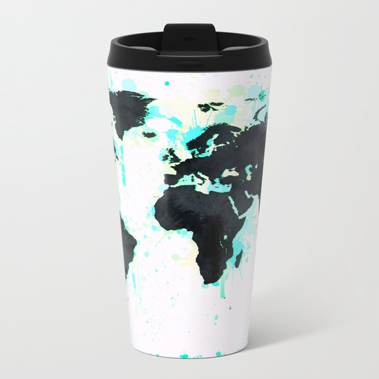 World Map Turquoise Paint and Black Ink Metal Travel Mug