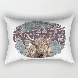 Tibetan Yak with Mani Mantra(six-syllabled Sanskrit mantra: OM MANI PADME HUM ) Rectangular Pillow