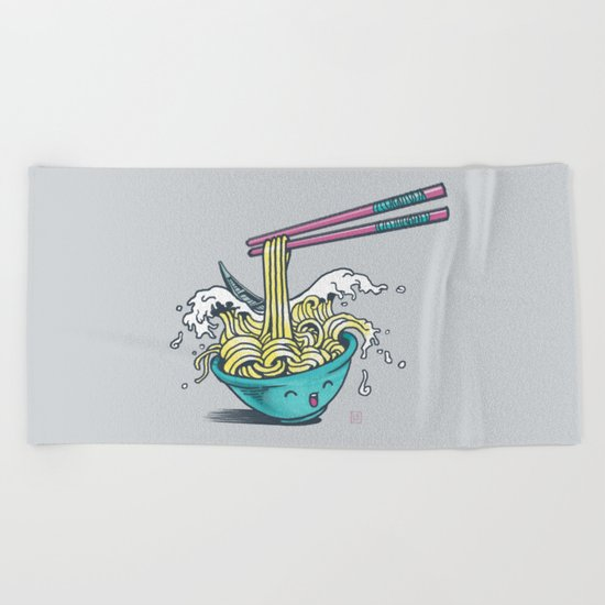 The Great Wave of Noodles with chopstick Beach Towel