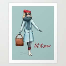 Let it snow for the holidays watercolor Art Print