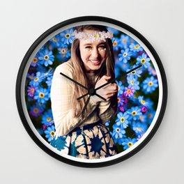 Taissa Farmiga Daisy Flower Crown Edit Wall Clock