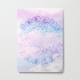 Heart Mandala on Unicorn Pastel Clouds #1 #decor #art #society6 Metal Print