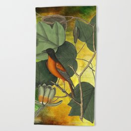 Baltimore Oriole on Tulip Tree, Vintage Natural History and Botanical Beach Towel