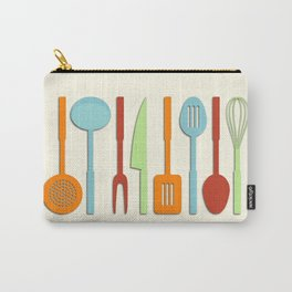 Kitchen Utensil Colored Silhouettes on Cream II Carry-All Pouch