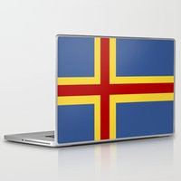 finland Laptop & iPad Skins featuring aaland country flag finland by tony tudor