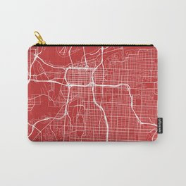 Kansas City Map, USA - Red Carry-All Pouch