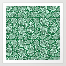 Paisley (White & Olive Pattern) Art Print