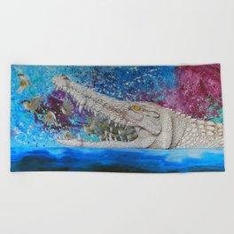Albino Crocodile Beach Towel