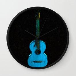 Blue Guitar Wall Clock