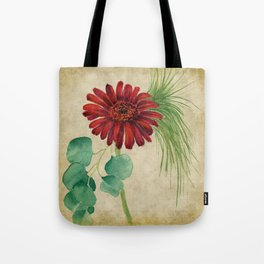 Vintage Red Daisy Tote Bag