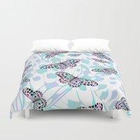 butterflies Duvet Covers featuring Butterflies by Ornaart