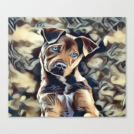The Blue Eyed Pit bull Puppy Canvas Print