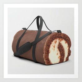 Sweet Chocolate Cream Roll // Ironic Junk Food Athletic Sports Gym Bag Designed by duffletrouble Art Print