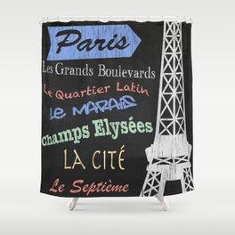Paris Tourism Poster Shower Curtain