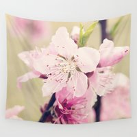 pear Wall Tapestries featuring Pink Pear Blossoms 2 by Erin Johnson