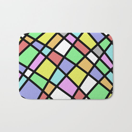 Crazy Pastel Paving - Abstract, pastel coloured mosaic paved pattern Bath Mat