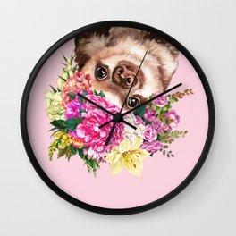 Flower Crown Baby Sloth in Pink Wall Clock