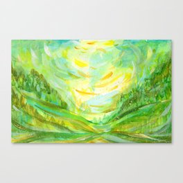 Summer background in green color Canvas Print