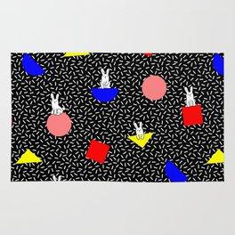 geometric bunny - 80s 90s inspired pattern - memphis milano Rug