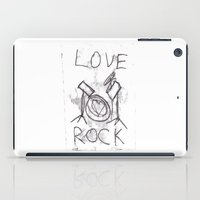 drums iPad Cases featuring Love Rock Drums by Louise Court