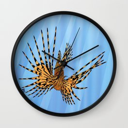 Stained Glass Lionfish Wall Clock