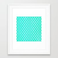 morrocan Framed Art Prints featuring Morrocan Aqua by BUT FIRST COFFEE