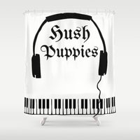 puppies Shower Curtains featuring Hush Puppies Reverse  by Mike Semler