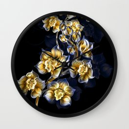 Gold and Blue orchids Wall Clock
