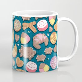 Mexican Sweet Bakery Frenzy // turquoise background // pastel colors pan dulce Coffee Mug
