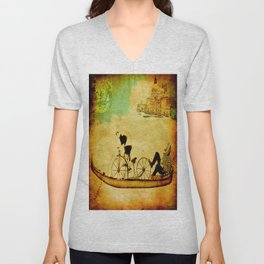 The gondola bicycle ( per Luca ) Unisex V-Neck