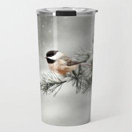 Winter Chickadee Travel Mug