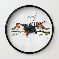 cock Wall Clocks featuring Cock Robin by rob art | illustration