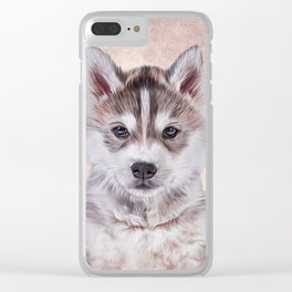 Drawing puppy Husky Clear iPhone Case