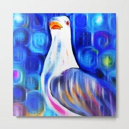 Vibrant Seagull Portrait Metal Print