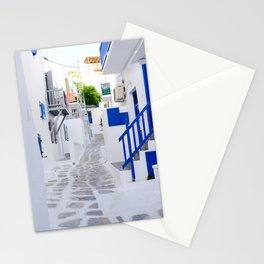 Beautiful Whitewashed Street Mykonos Greece Stationery Cards