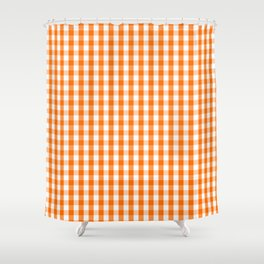 Classic Pumpkin Orange and White Gingham Check Pattern Shower Curtain