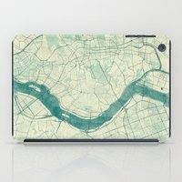 seoul iPad Cases featuring Seoul Map Blue Vintage by City Art Posters