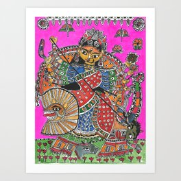 Madhubani - Pink Durga Art Print