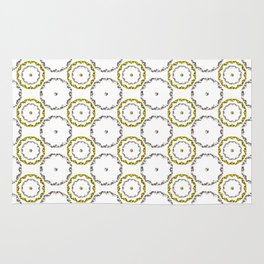 Gold and Silver Rings Polka Dot Pattern Rug