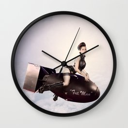 """Up and Atom"" - The Playful Pinup - Military Bomb Pin-up Girl by Maxwell H. Johnson Wall Clock"